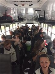 The softball teams from Collegiate and Paul VI shared a bus ride to the site of the VISAA tournament on May 21