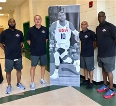 Collegiate's Del Harris (second from right) and USA Basketball colleagues at the youth development camp in Charlotte in August 2017