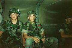 James Bandy (right) enlisted in the Marine Corps following his graduation from Varina High School and served during the Gulf War