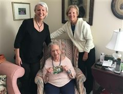 Betty Ratcliffe Marshall, Collegiate Class of '38, celebrated her 100th birthday on March 20, 2020, with family including her great nieces Cathy Plageman '82 (left) and Anne Chamblee ''80.