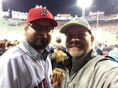 Patrick Henry '90 (left) and his brother Mike '84 at -- where else? -- a Boston Red Sox game.