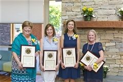 Blair Chewning, Beth Tracy, Kathryn Oden, and Susan Overton, Lower School teachers with a combined 124 years of dedicated service to Collegiate, were honored today in a retirement ceremony in the Sharp Academic Commons.