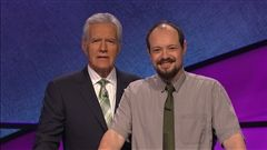Pasha Paterson '97 appeared on on the September 27 airing of Jeopardy! He's sharing the moment with long-time host Alex Trebek.
