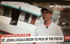 Meaghan Enright '01 speaks on CNN about the relief effort in St. John, US Virgin Islands, in the wake of Hurricane Irma.