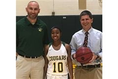 Tierra Morris with strength coach Will O'Brien and basketball coach Rives Fleming