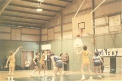 Frank Mountcastle '83 hits a free throw in Collegiate's 44-41 victory over St. Bridget in 1979.  His 30-foot shot at the buzzer in regulation sent the game into overtime.