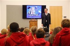 Author Jack Gantos speaks with Lower School students