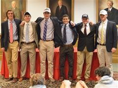 Our spring signees, left to right - Harrison Rice (VT), Will Forrest (UNC), William Tappen (JMU), Gray Hart (UVA), Hunter Andrews (Roanoke) and Clifford Foster (VCU).