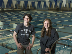 Sean Hogan '19 with female swimmer of the year Grace Sheble of James River.
