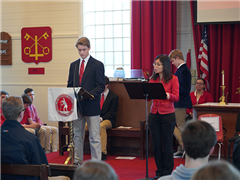 Edward Pasco '21 and Hanna Zhu open the chapel service celebrating the Chinese New Year
