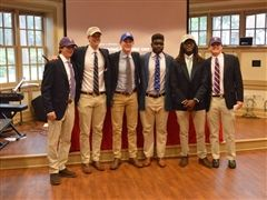The signees from left to right: Luke Valentine, Charlie Cox, John Flood, Dhykwon Smith, DayMone' Fleming and Jack Westfall.