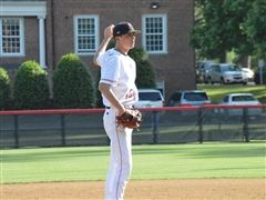 Harrison Coble '21 (pictured) teamed up with Patrick Routsis '19 to no-hit the Blue Devils.