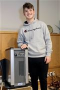Selwyn House Prefect Michael Feldman with the Beyond air purifier