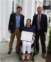 Alumni Council President Tucker Golden '90, Alumni Award winner Allison Kessler Vear '00 and Head of School Aaron Cooper