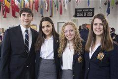 The four Venture Grant recipients, from left, Jacob Korman, Paola Fortes, Rachel Wallace and Shannon Lewis