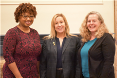 (L-R): Political Science and Political Analyst Khalilah L. Brown-Dean, State Representative Liz Linehan, and Cheshire Board of Education Marlena Soble
