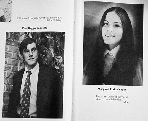 Margaret (Kagin) and Paul La Pointe in their senior yearbook