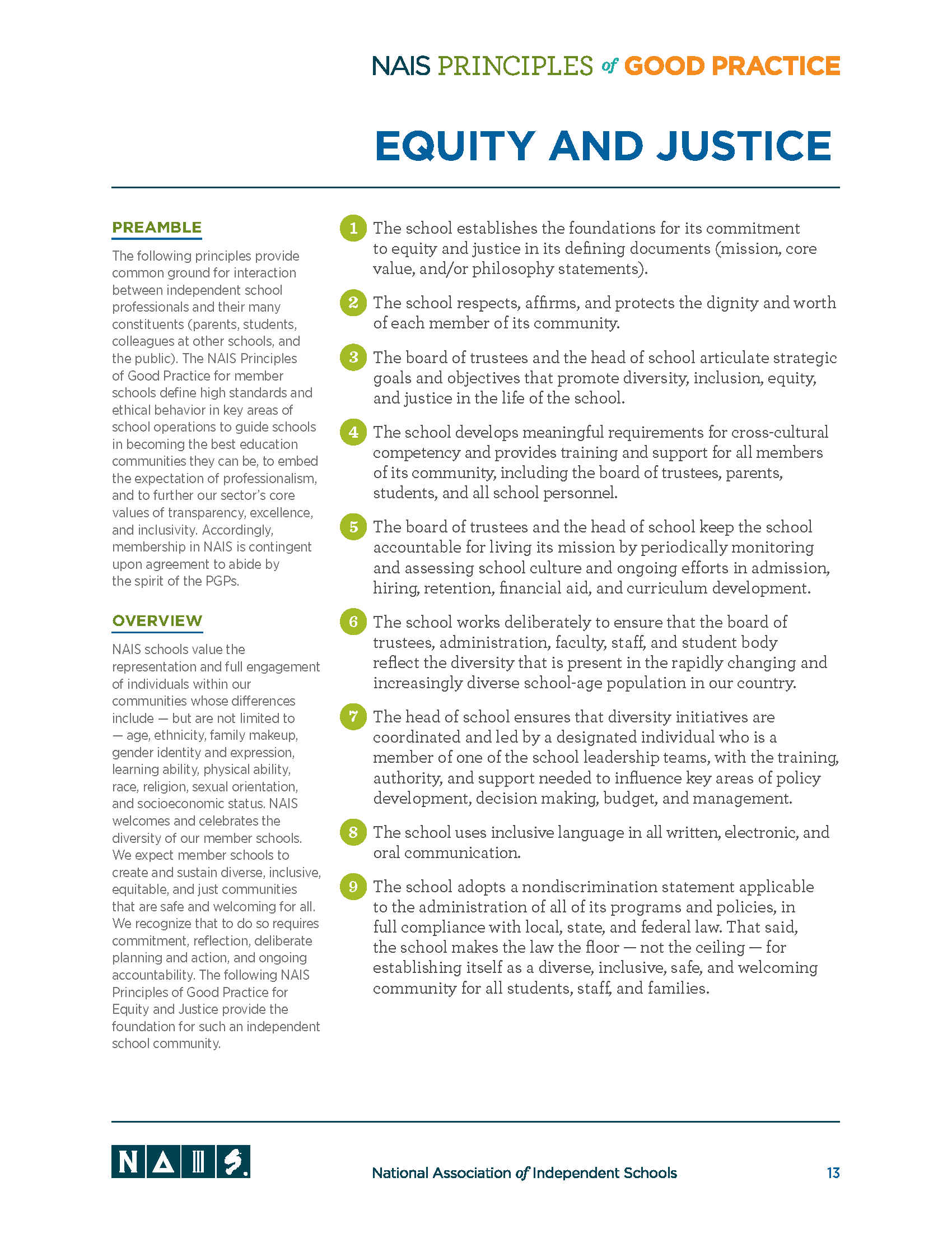 NAIS Principles of good practice: Equity and justice