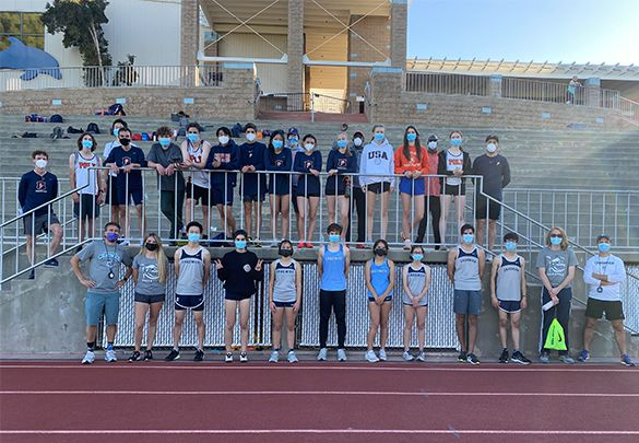 Poly's Track and Field team (top row) pictured with Chadwick School's track and field team (bottom row) safely masked and socially distanced in a Prep League dual meet.