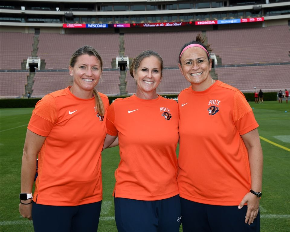Poly's Girls Varsity Soccer coaching staff. From left: Jamie Bell, Heidi Strauss, and Andrea Otero.