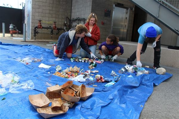 Middle School students conduct a waste audit during Earth Day activities at Crossroads.