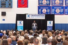 Historian and author Ibram X. Kendi discusses racial inequalities Sept. 9 in the Crossroads Gym in a presentation hosted by the Crossroads School Equity & Justice Institute's Younes and Soraya Nazarian Equity & Justice Distinguished Lecture Series.