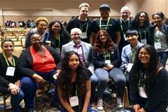 Crossroads students who attended SDLC meet with faculty and staff who attended the People of Color Conference in Tampa, Florida.