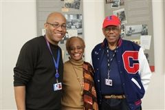 L-R: David Stewart, academic dean, grade 8, and long-time Crossroads trustees Elaine Parker-Gills and Nat Trives at the Middle School Martin Luther King Jr. assembly.