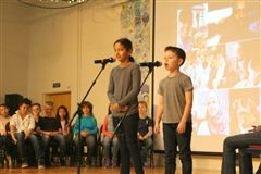 Fourth-graders share what they learned about Islam at a recent Gathering.