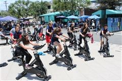 Bike Week at Crossroads featured numerous fun activities, including spin classes in the Alley.