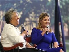 Jenna Bush Hager spoke at St. Catherine's in support of the Virginia Women's Monument. (Mark Gormus/Times-Dispatch)