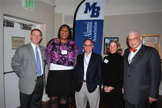 Five MBAA Clerks past & present at 2012 Homecoming Reception: Keith Monchik '90, Stephanie Ogidan Preston '97, Ted Winston '74, Emily Low Boenning '81 and Ted Low '44