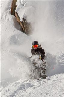 Justin Pasculano '14 maneuvers through the Snake Pit in Big Sky, Montana.