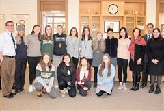 At Morning Meeting, it was announced that seniors (back, center) Jenna T., Haley B., Lily F., and Chloe G. and juniors (front) Nella N., Tam L., Maya Y., and Kenzie G. have been selected to join current student and faculty members of the Foxcroft School Chapter of Cum Laude.