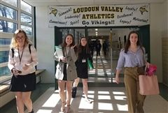 Sophomores Gracie S., Hayden E., Chessa B., and Rose U. '21 walked into Loudoun Valley High School, ready for the Model UN Conference last Saturday.
