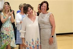 Head of School Cathy McGehee awarded Residential Coordinator Heide Hotchkiss the Jane Lockhart Service Award on May 23 at the annual Awards Assembly.