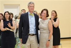 Head of School Cathy McGehee named John Scharfenberg as the fifth recipient of the Mary Louise Leipheimer Excellence in Teaching Award on May 23 at the annual Awards Assembly.