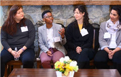 A few of last year's Courageous Conversations panelists (L to R): Allison Bejar '14, Rachel Means '08, Rochelle Arms Almengor '96, and Kassinda Usher '93 share their experiences.