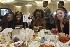 Chelsie E. '22, Dami O. '21, Elikem K. '21, and London H. '23 were among the group of students volunteering at the Virginia Black History Month Association's Gala.
