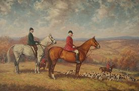 From Foxcroft's own collection comes this oil painting of Miss Charlotte and Daniel Sands, joint Masters of the Middleburg Hunt in the 1940s, by Edward L. Chase (photo courtesy of the National Sporting Library and Museum)