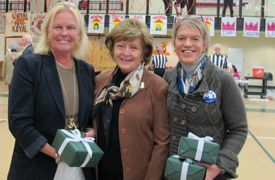 Jane Clark '73 (left) and Juliet Graham '72 were inducted into Foxcroft's Sports Hall of Fame by their former English teacher, Head of School Mary Louise Leipheimer.