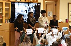 Members of We the People, Foxcroft's diversity and inclusion club, gave a presentation honoring the life and legacy of Martin Luther King, Jr. on January 16.
