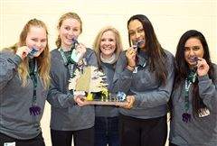 At Saturday's Expedition K2M: The STEM Summit, Foxcroft's own Blue Whale Warriors — seniors Morgan H., Saylor H., Cici J., and Pradyuta P., here with STEM Department chair and competition director Dr. Maria Evans — took first place in the high school competition!