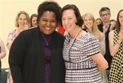 Head of School Cathy McGehee awarded History teacher Stephanie Young '00 with the Mary Louise Leipheimer Excellence in Teaching Award on Thursday (May 24) at the annual Awards Assembly.