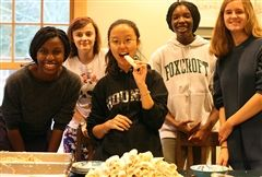 Members of Global Cultures Club, including Tami F. '21, Jennifer C. '21, Semin A. '21, Chelsie E. '22, and Elizabeth S. '22, worked hard on Sunday making spring rolls for a special Moon Festival dinner on Monday. (Photo by Bianca M. '21)
