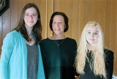 Head of School Cathy McGehee (center) was pleased to announce that seniors Anne K. (left) and Chloe G. (right) received Letters of Commendation recognizing their exceptional academic promise in the National Merit Scholarship Program.