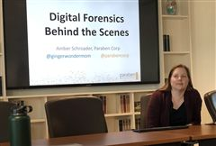 Last Thursday, Amber Schroader, the second guest of this year's STEM Presents speaker series, spoke to students about her career in digital forensics.