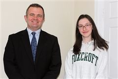 AP English Literature teacher Steve McCarty and Anne K. '19 both learned how to write a patent application.
