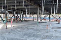 Concrete pour on the first floor.