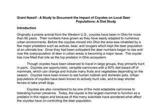 Coyote and Deer Population Interactions